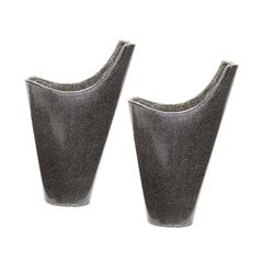 Lazy Susan Reaction Filled Vases In Grey -Set Of 2