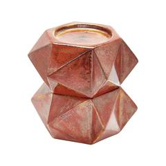 Lazy Susan Large Ceramic Star Candle Holders - Russet. Set Of 2