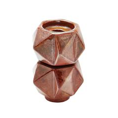 Small Ceramic Star Candle Holders In Russet - Set of 2