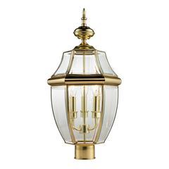 Ashford 3 Light Exterior Post Lantern In Antique Brass