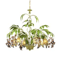Huarco 6 Light Chandelier In Seashell And Green