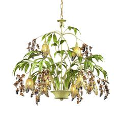 ELK lighting Huarco 8 Light Chandelier In Seashell And Green