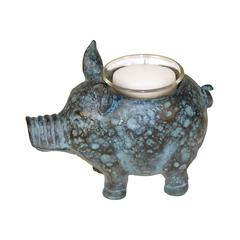 Sterling Little Pig Votive Candle Holder