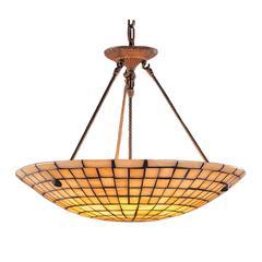 ELK lighting Stone Mosaic 8 Light Pendant In Dark Antique Brass