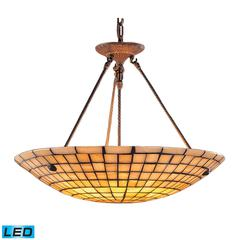 Stone Mosaic 8 Light LED Pendant In Dark Antique Brass