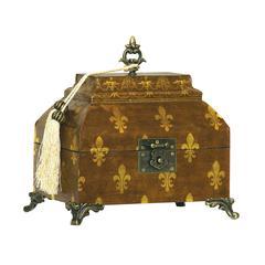Sterling Fleur De Lis Broach Box