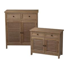 Set Of 2 Washed Wood Cabinets