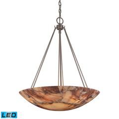 Marbled Stone 6 Light LED Pendant In Matte Nickel