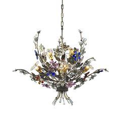 Brillare 6 Light Chandelier With Multicolor Crystal Florets