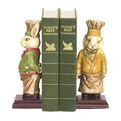 Sterling Pair Of Chef Bunny Bookends