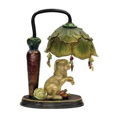 Rabbit Under Leaf Mini Accent Table Lamp