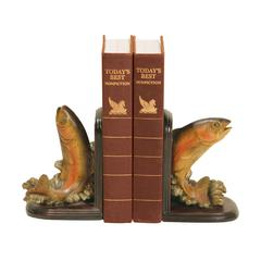 Sterling Pair of Rainbow Trout Bookends