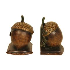 Sterling Pair of Muir Woods Acorn Bookends
