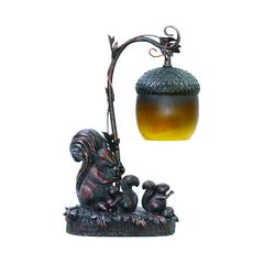 Squirrel Acorn Mini Accent Table Lamp