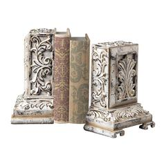Sterling Carved Bookends In White With Gold Highlight
