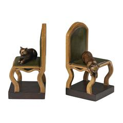 Set Of 2 Cat On A Chair Bookends