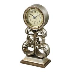 Desk Clock In Antique Silver