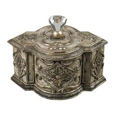 Sterling Keepsake Box With Crystal Finial