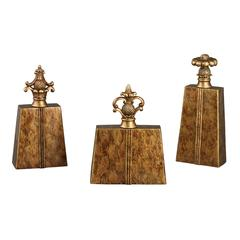 Sterling Set Of 3 Chestnut Finials