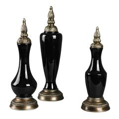 Sterling Set Of 3 Gloss Black Finials