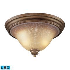 Lawrenceville 2 Light LED Flushmount In Mocha And Antique Amber Glass