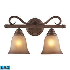 ELK lighting Lawrenceville 2 Light LED Vanity In Mocha With Antique Amber Glass