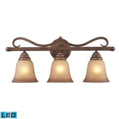 ELK lighting Lawrenceville 3 Light LED Vanity In Mocha With Antique Amber Glass