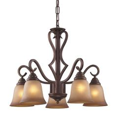 Lawrenceville 5 Light Chandelier In Mocha With Antique Amber Glass