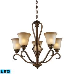 Lawrenceville 5 Light LED Chandelier In Mocha With Antique Amber Glass