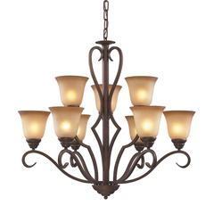 Lawrenceville 9 Light Chandelier In Mocha With Antique Amber Glass