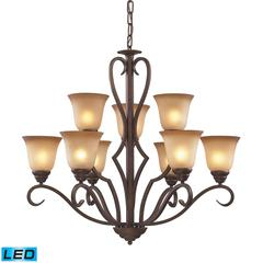 ELK lighting Lawrenceville 9 Light LED Chandelier In Mocha With Antique Amber Glass