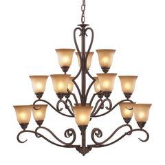 ELK lighting Lawrenceville 15 Light Chandelier In Mocha With Antique Amber Glass