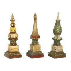 Sterling Set of 3 Sphere Tip Finials