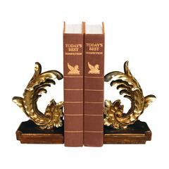 Pair Of Cresting Vintage Floral Leaf Bookends