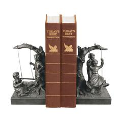 Pair Of Boy And Girl On Swing Book Ends