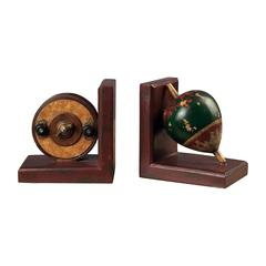 Antique Fishing Reel And Fishing Float Book Ends