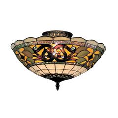 ELK lighting Tiffany Buckingham 3 Light Semi Flush In Vintage Antique