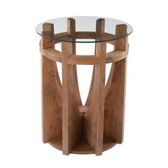 Wooden Sundial Side Table