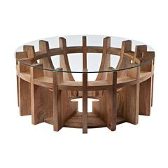 Lazy Susan Wooden Sundial Coffee Table