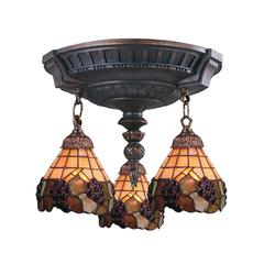 ELK lighting Mix-N-Match 3 Light Semi Flush In Aged Walnut And Stained Glass