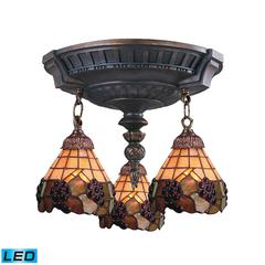 ELK lighting Mix-N-Match 3 Light LED Semi Flush In Aged Walnut And Stained Glass