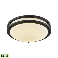 "Clarion 11"" LED Flush In Oil Rubbed Bronze With A White Acrylic Diffuser"