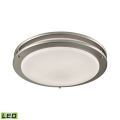 "Clarion 15"" LED Flush In Brushed Nickel With A White Acrylic Diffuser"