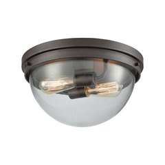 Beckett 2 Light Flush Mount In Oil Rubbed Bronze With Clear Glass