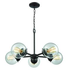 Beckett 5 Light Chandelier In Oil Rubbed Bronze With Clear Glass
