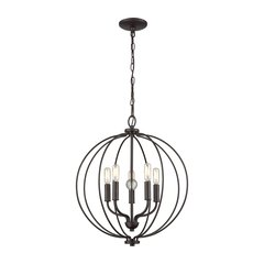Williamsport 5 Light Chandelier In Oil Rubbed Bronze With Clear Glass Ball
