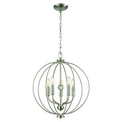 Williamsport 5 Light Chandelier In Brushed Nickel With Clear Glass Ball