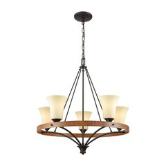 Park City 5 Light Chandelier In Oil Rubbed Bronze,Wood Grain And Light Beige Scavo Glass