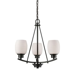 Casual Mission 3 Light Chandelier In Oil Rubbed Bronze With White Lined Glass