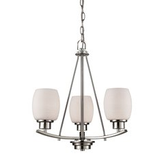 Casual Mission 3 Light Chandelier In Brushed Nickel With White Lined Glass